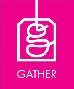 gather logo white on pink