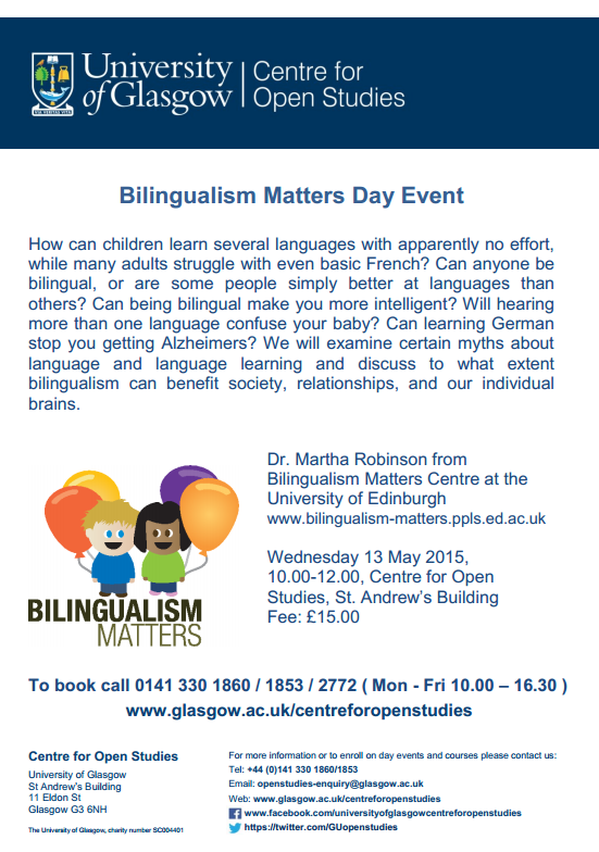 Bilingualism Matters at Glasgow open studies poster