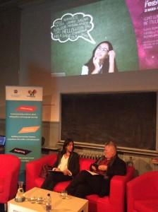 Antonella Sorace and Thomas Bak prepare for their event at the Edinburgh International Science Festival